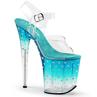 PLEASER Ankle Strap Sandal Featuring Tinted, Rhinestone Studded Platform Bottom