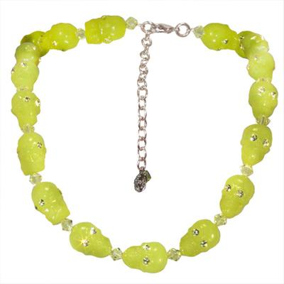 TARINA TARANTINO LUCITE SKULL AND CRYSTAL NECKLACE LIME