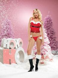 Leg Avenue 2 Pc - Sequined & fur trimmed bustier& G-string