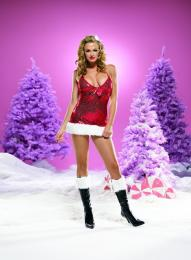 Leg Avenue Sequins Santa's Dress W/ Faux Fur Trim RE