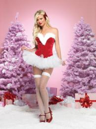 Leg Avenue Sweetheart Santa velvet bustier with plush trim