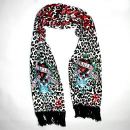 Ed Hardy LOVE KILLS SLOWLY Knit Scarf WH/BK