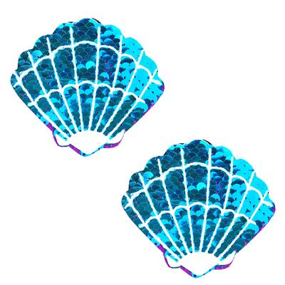 NIPZTIX Blue Jasmine Sparkle Sequin Mermaid Shell Pasties