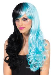 Leg Avenue Split long curly wig with optional pony tail clips
