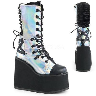 Demonia latform Wedge Double D-Ring Lace-Up Front Mid Calf Boot