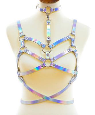 FUNK PLUS HOLOGRAPHIC DOUBLE STRAP BRA HARNESS WITH CHOKER&BELT 4PC SET.