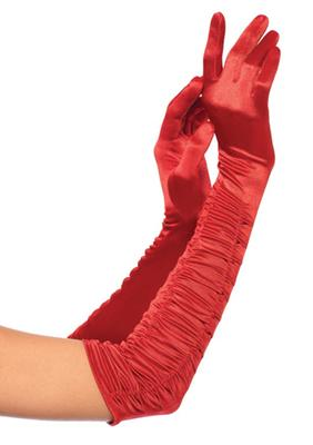 Leg Avenue Opera length ruched satin gloves.