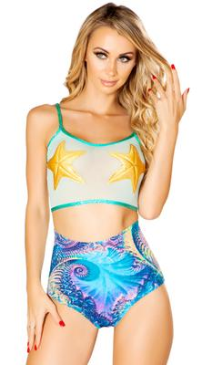 J.Vlentine Mesh Starfish Crop Top