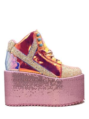Y.R.U Pixie Qozmo Mermaid Sequin Platforms Sneakers.
